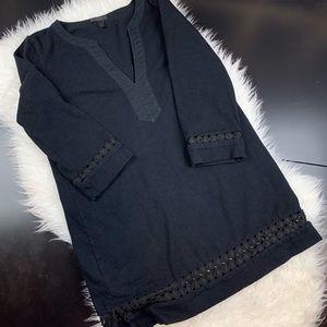 J Crew M black tunic  lace A8